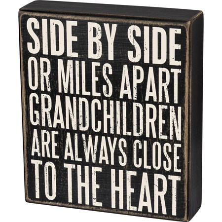 "Box Sign - Grandchildren Are Close To The Heart - 6"" x 7"" x 1.75"" - Wood"