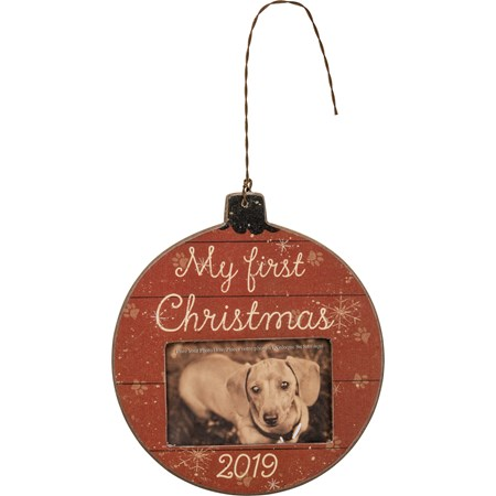 "Ornament - First Christmas 2019 - 4.50"" x 5"" x 0.25"", Fits 3"" x 2"" Photo - Wood, Paper, Plastic, Wire"