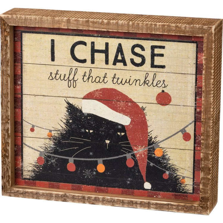 "Inset Box Sign - I Chase Stuff That Twinkles - 8"" x 7"" x 1.75"" - Wood, Paper"