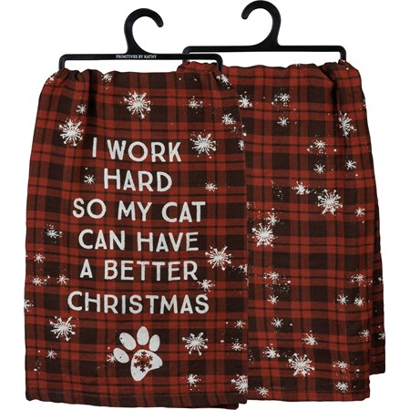 "Dish Towel - Work Hard So Cat Has Better Christmas - 28"" x 28"" - Cotton"