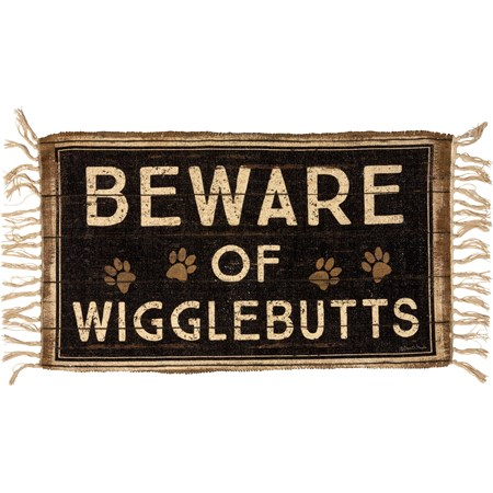 "Rug - Beware Of Wigglebutts - 34"" x 20"" - Polyester, Cotton"