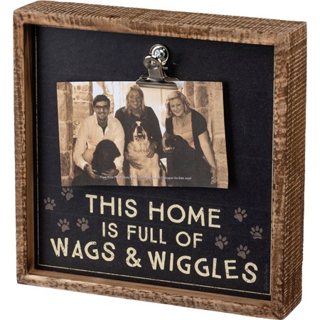 "Inset Box Frame - Home Full Of Wags & Wiggles - 8"" x 8"" x 2"", Fits 6"" x 4"" Photo - Wood, Paper, Metal"