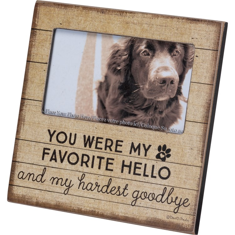 "Plaque Frame - My Favorite Hello Hardest Goodbye - 6"" x 6"" x 0.25"", Fits 5"" x 3"" Photo - Wood, Paper, Glass, Metal"