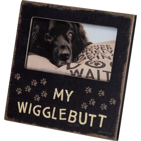 "Plaque Frame - My Wigglebutt - 6"" x 6"" x 0.25"", Fits 5"" x 3"" Photo - Wood, Paper, Glass, Metal"
