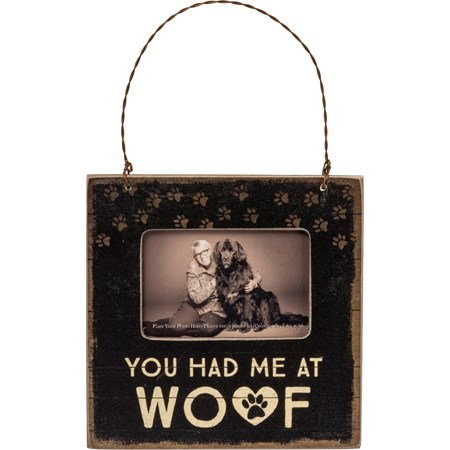 "Mini Frame - You Had Me At Woof - 4.50"" x 4.50"" x 0.25"", Fits 3"" x 2"" Photo - Wood, Paper, Plastic, Wire, Magnet"