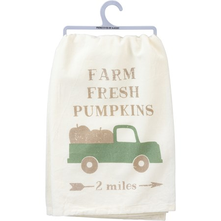 "Dish Towel - Farm Fresh Pumpkins - 28"" x 28"" - Cotton"