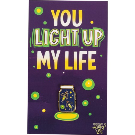 "Enamel Pin - Fireflies - You Light Up My Life - Pin: 0.75"" x 1"", Card: 3"" x 5"" - Metal, Enamel, Paper"