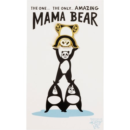 "Enamel Pin - Amazing Mama Bear - Pin: 1"" x 1"", Card: 3"" x 5"" - Metal, Enamel, Paper"