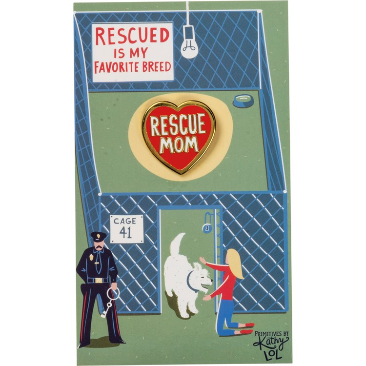 "Enamel Pin - Rescue Mom Dog - Pin: 1"" x 1"", Card: 3"" x 5"" - Metal, Enamel, Paper"