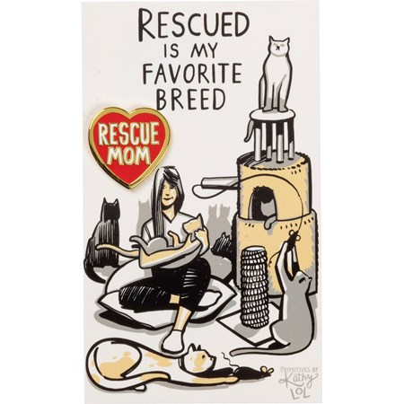 "Enamel Pin - Rescue Mom Cat - Pin: 1"" x 1"", Card: 3"" x 5"" - Metal, Enamel, Paper"