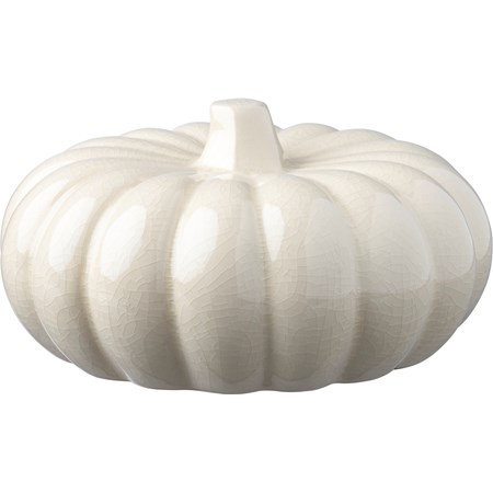 "Ceramic Pumpkin Lg - Cream - 8"" Diameter x 4.25"" - Stoneware"