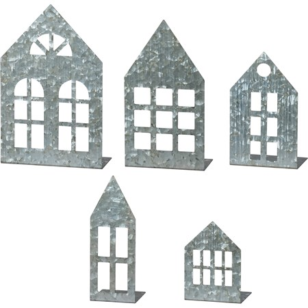 "Stand Up Set - Med Houses - 3.50"" - 7"" Tall - Metal"