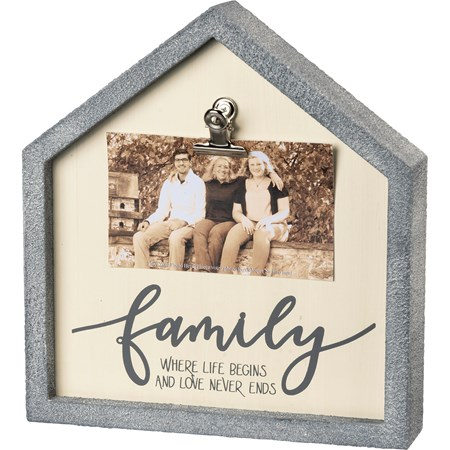 "Inset Box Frame - Family Love Never Ends - 8.50"" x 9.25"" x 2"", Fits 5"" x 3"" Photo - Wood, Metal"