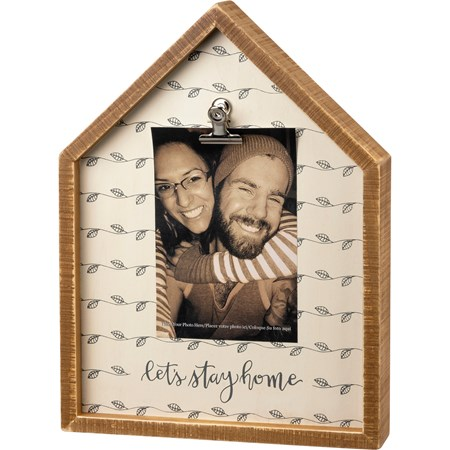 "Inset Box Frame - Let's Stay Home - 9"" x 12"" x 2"", Fits 4"" x 6"" Photo - Wood, Metal"