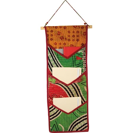 "Pocket Organizer - Kantha - 14"" x 43.50"" - Cotton, Wood"