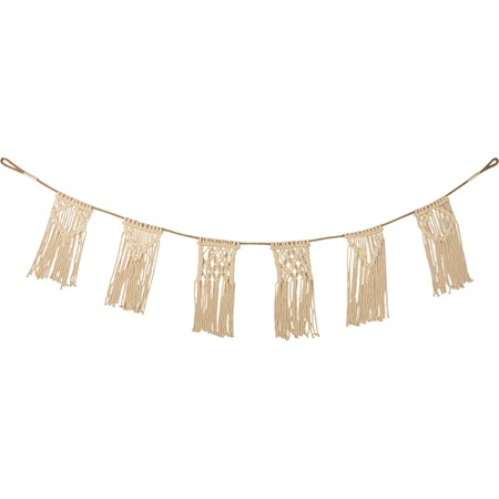 "Garland - Macrame - 70"" x 12"" - Cotton, Jute"