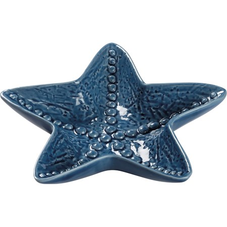 "Trinket Tray - Starfish - 7"" x 7"" x 1.25"" - Ceramic"