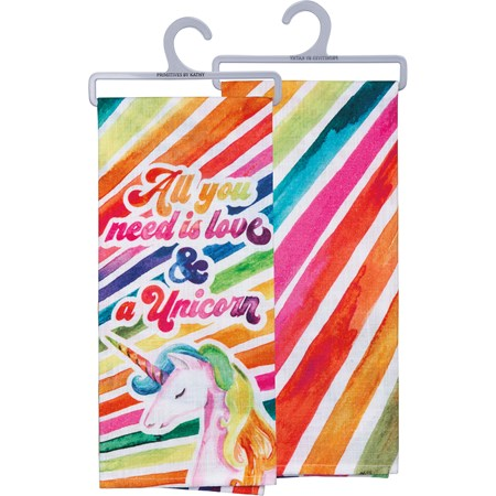 "Dish Towel - All You Need Is Love And A Unicorn - 18"" x 28"" - Cotton"