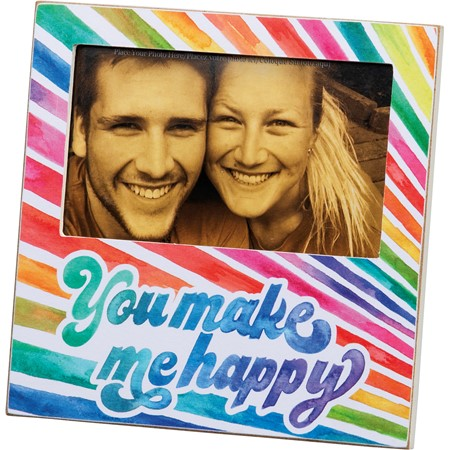 "Plaque Frame - Make Me Happy - 6"" x 6"" x 0.25"", Fits 5"" x 3"" Photo - Wood, Paper, Glass, Metal"