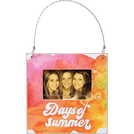 "Mini Frame - Days Of Summer - 4.50"" x 4.50"" x 0.25"", Fits 3"" x 2"" Photo - Wood, Paper, Plastic, Wire, Magnet"
