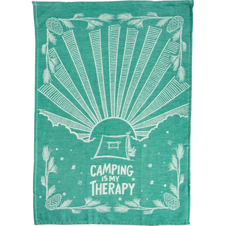 "Dish Towel - Camping Is My Therapy - 20"" x 28"" - Cotton"