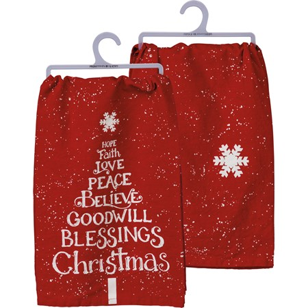 "Dish Towel - Love Peace Blessings Christmas - 28"" x 28"" - Cotton"