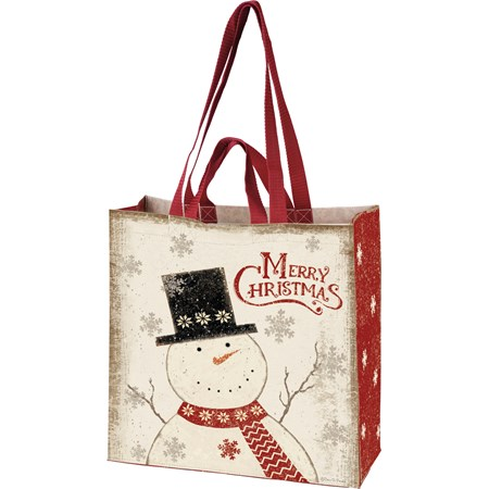"Market Tote - Merry Christmas - 15.50"" x 15.25"" x 6"" - Post-Consumer Material, Nylon"