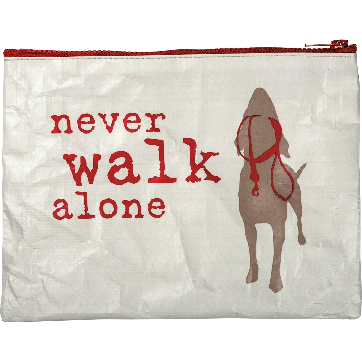 "Zipper Pouch - Never Walk Alone - 9.50"" x 7"" - Post-Consumer Material, Metal"
