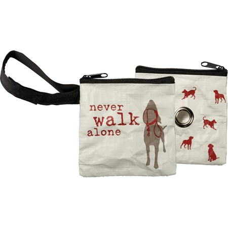 "Pet Waste Bag Pouch - Never Walk Alone - 3.50"" x 3.50"" - Post-Consumer Material, Metal, Nylon"