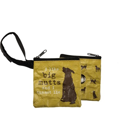 "Pet Waste Bag Pouch - I Like Big Mutts - 3.50"" x 3.50"" - Post-Consumer Material, Metal, Nylon"