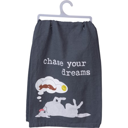 "Dish Towel - Chase Your Dreams - 28"" x 28"" - Cotton"