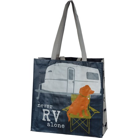 "Market Tote - Never RV Alone - 15.50"" x 15.25"" x 6"" - Post-Consumer Material, Nylon"