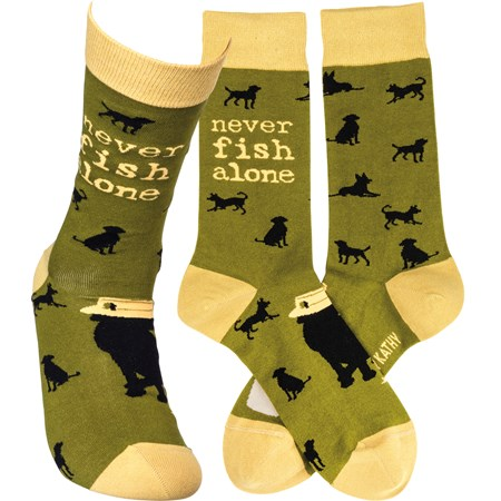 Socks - Never Fish Alone - One Size Fits Most - Cotton, Nylon