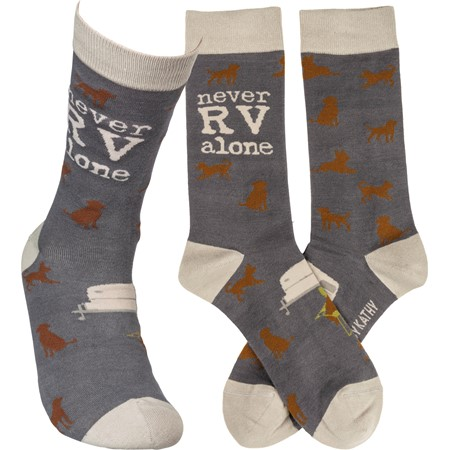 Socks - Never RV Alone - One Size Fits Most - Cotton, Nylon