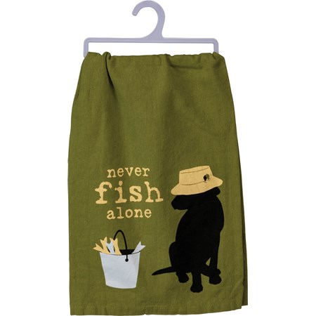 "Dish Towel - Never Fish Alone - 28"" x 28"" - Cotton"