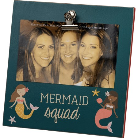 "Easel Frame - Mermaid Squad - 6"" x 6"" x 0.25"", Fits 5"" x 3"" Photo - Wood, Metal"