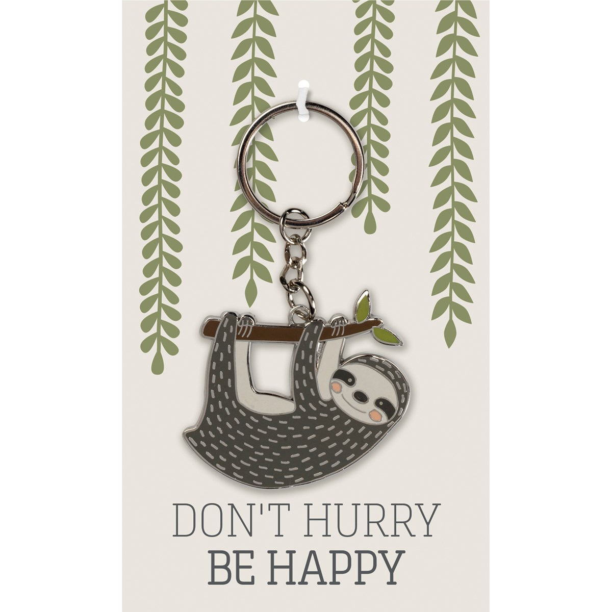 "Keychain - Don't Hurry - 1.75"" x 1.75"", Card: 3"" x 5"" - Metal, Enamel, Paper"