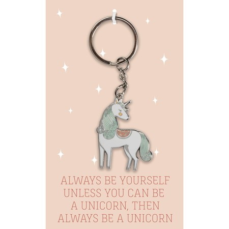 "Keychain - Be A Unicorn - 1.50"" x 1.75"", Card: 3"" x 5"" - Metal, Enamel, Paper"