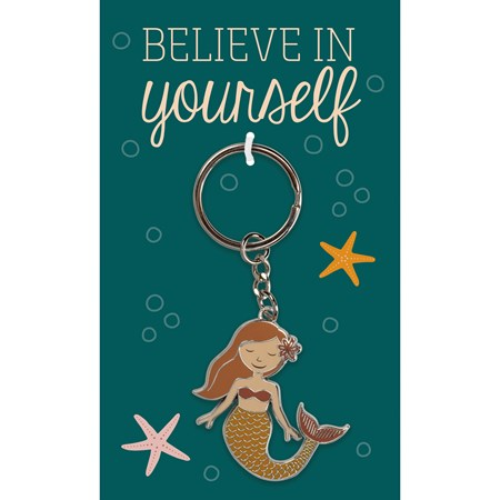 "Keychain - Believe In - 1.75"" x 1.75"", Card: 3"" x 5"" - Metal, Enamel, Paper"