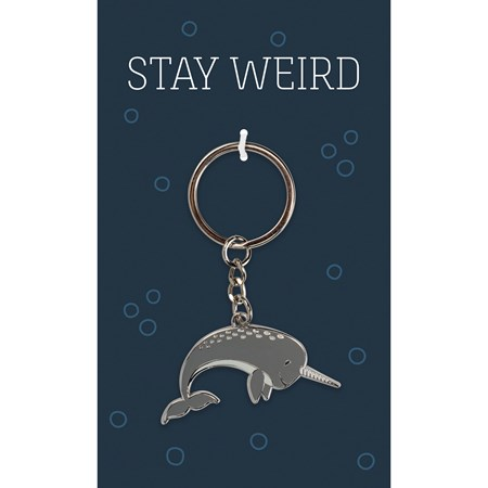 "Keychain - Stay Weird - 1.75"" x 1.50"", Card: 3"" x 5"" - Metal, Enamel, Paper"