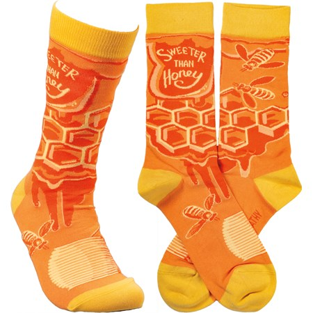 Socks - Sweeter Than Honey - One Size Fits Most - Cotton, Nylon, Spandex