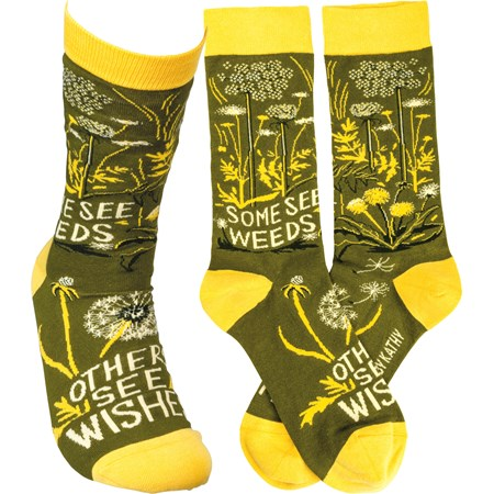 Socks - Some See Weeds Others See Wishes - One Size Fits Most - Cotton, Nylon, Spandex