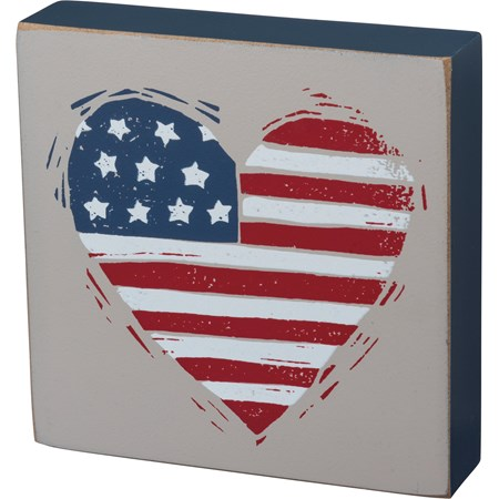 "Block Sign - Patriotic Heart - 4"" x 4"" x 1"" - Wood"