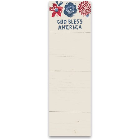 "List Notepad - God Bless America - 2.75"" x 9.50"" x 0.25"" - Paper, Magnet"