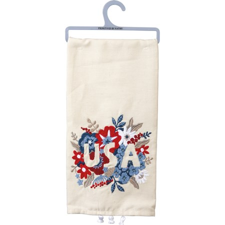"Dish Towel - Floral USA - 20"" x 26"" - Cotton, Linen"
