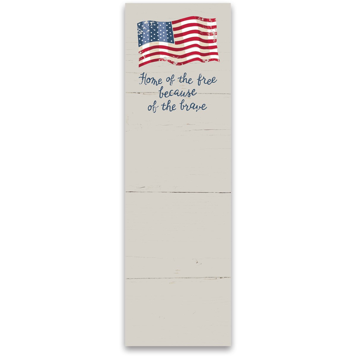 "List Notepad - Free Because Of The Brave - 2.75"" x 9.50"" x 0.25"" - Paper, Magnet"