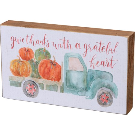"Block Sign - Give Thanks With A Grateful Heart - 6"" x 3.50"" x 1"" - Wood, Paper"