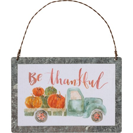"Ornament - Be Thankful - 4"" x 2.75"" - Metal, Paper, Wire"