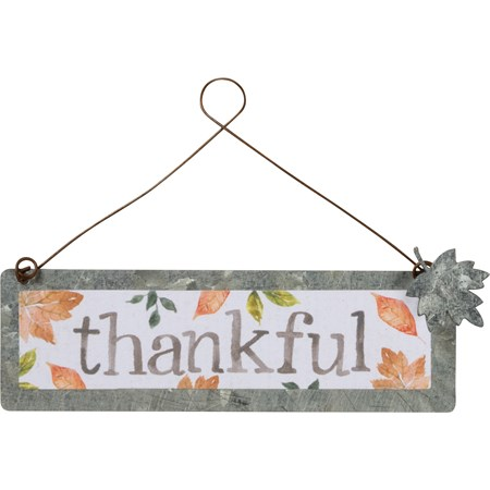 "Ornament - Thankful - 4"" x 1.25"" - Metal, Paper, Wire"