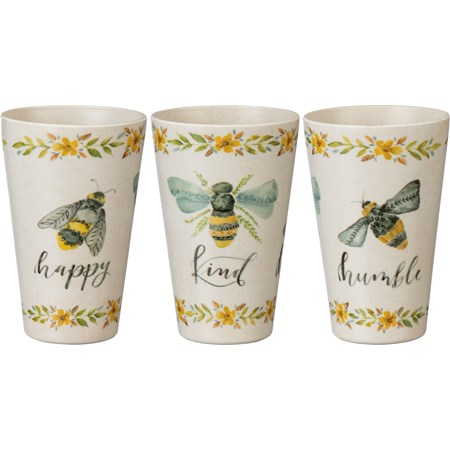 "Cup - Bee Happy Kind Humble - 3.50"" Diameter x 5"" - Bamboo Fiber, Melamine"